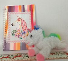 2 Pc Pink Unicorn 5x7 Hand done Decoupaged Notebook & Toy