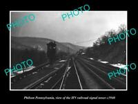 OLD 8x6 HISTORIC PHOTO OF PHILSON PENNSYLVANIA THE HN RAILROAD TOWER c1930