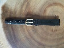 Ladies Black Leather Watch Strap 14mm