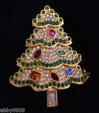 Signed Swarovski Christmas Tree Brooch Pin