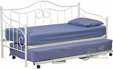 Lisbon White Metal Day Bed with Trundle French 3FT Single Guest Bed Frame