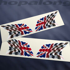 Chequered Flag/ Union Jack Sticker Decals (x4). 60mm