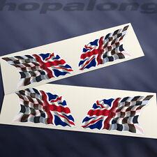 Chequered Flag/ Union Jack Sticker Decals (x4). 60mm
