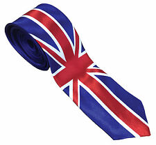 Mens Unisex Satin Best of British Union Jack GB Flag Skinny Tie Fancy Dress