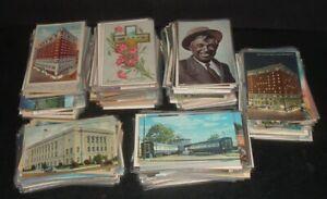 LOT OF 470 vintage POSTCARDS, pre linen, chrome, linen, greeting, building, etc.