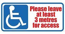 Disabilitato si prega di lasciare 3 METRI per l'accesso in Vinile Muro, Auto, Furgone Decalcomania Sticker