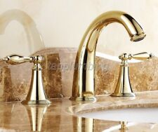 Gold Color Brass Widespread 3 Hole Bathroom Basin Faucet Sink Mixer Taps tnf237