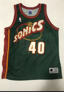 Authentic Shawn Kemp Champion Seattle Supersonics Jersey Size 44