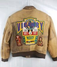 Victory MICKEY MOUSE Leather Bomber Aviator Jacket Coat Big Patch RARE Medium M