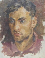 Original Oil Painting Male portrait Ukrainian artist. Subscription 1940. Vintage