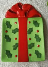 Fitz & Floyd Gourmet Kringle Xmas Snack Plate - Green Holly Red Bow