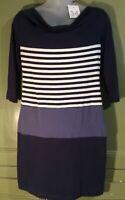 "Crew Womens Uk16 36.5""Stretch Knit Sophia Dress Blue Breton Stripe Summer Casual"