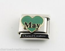 May Green Heart Love Birthstone Birthday 9mm Italian Charm Stainless Link