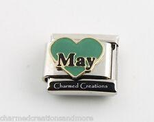May Green Heart Love Birthstone Birthday 9mm Italian Charm Stainless Link