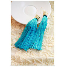 Women Fashion Vintage Silk Yarn Long Tassel Fringe Dangle Earrings JW089