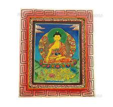 Bouddha Peinture sur Bois Tibetaine Nepal Tangka  5332