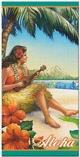 Hawaiian Hula Girl Beach Bath Towel Hawaii Vintage Ukulele Surf Fun MultiColor N