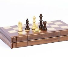 """Chess Set Weighted Felted Chessmen 2.5"""" King Inlaid Storage Walnut Book Style"""