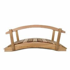 All Things Cedar Fb48-R Garden Foot Bridge Platform with Hand Rails, Brown