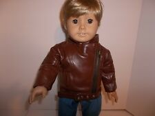 """Brown Motorcycle Jacket made for18"""" American Girl Boy  Doll Clothes New"""