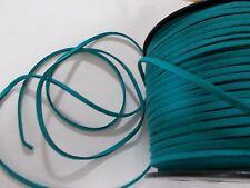 10m Faux Suede Cord Flat 3mm x 1.5mm  TURQUOISE BLUE  ( Necklace Bracelet )