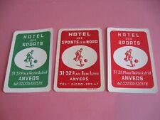 3 losse speelkaarten / 3 single playing cards / 3 cartes  HOTEL DES SPORT