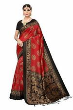 Women's Mysore Silk Printed Saree Border Tassels With Blouse Piece Red Color