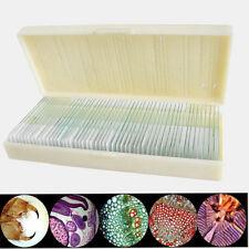 50pcs Glass Prepared Basic Science Microscope Slides Sample Biology Pathology