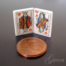 Antique miniature French Doll Playing card King and Queen of Hearts on Bone Tile