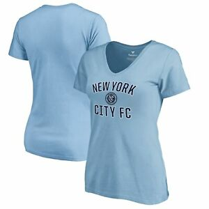 New York City FC Fanatics Branded Women's Victory Arch Logo V-Neck T-Shirt -