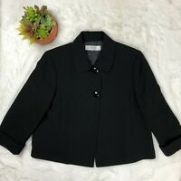Tahari Arthur S. Levine Black Blazer Button Front 3/4 Sleeve Size 12 JTH6945