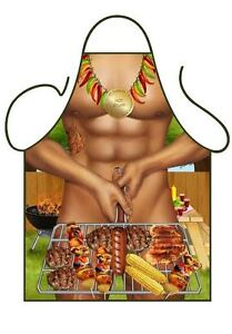 MEN'S FUN SEXY NOVELTY APRON, NAKED MAN AT BBQ WITH SAUSAGES FOR BBQ&KITCHEN