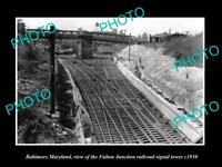 OLD LARGE HISTORIC PHOTO OF BALTIMORE MARYLAND, FJ RAILROAD SIGNAL TOWER c1930