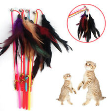 Cat Pet Dangler Bell Rod Wand Teaser Teasing Feather Games Toy Color Random