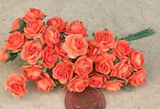 1:12 Scale 3 Bunches (30 Flowers) Of Orange Paper Roses Tumdee Dolls House A