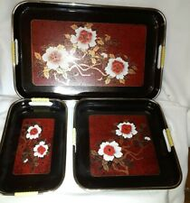 Vintage 70's Lacquerware Nesting Tray ~Set of 3~ Made In Japan, VGC, FREE SHIP!