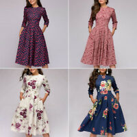 Autumn Spring Vintage Dress Women Retro Tunic Long Sleeved Print Floral-Dresses