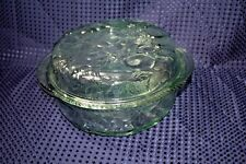 Libbey Baking Cooking Casserole Dish with Lid Green Glass Orchard Fruit Pattern