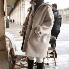 Women Beige Loose Coat Trench Hooded Toggle Duffle Long Parka Jacket Winter Warm
