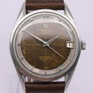 VINTAGE 1960's Universal Geneve Polerouter Date Watch Tropical Dial ref.204610/2