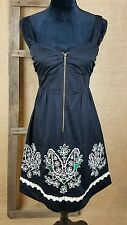Floreat Anthropologie womens dress 4 eyelet embroidered laser cut front zipper