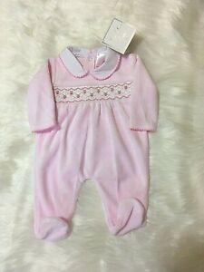 Baby Girl Clothes Spanish Romany Style smocked pink velour sleepsuit 0 - 3 3-6 m