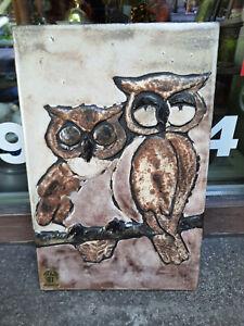 Ruscha Keramik Wandbild Eulen Owl  34,5 x 22,5 cm