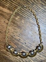 Heavy Chunky Gold Tone Silver Tone Statement Necklace Chain Link 18 1/2""