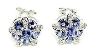 9CT HALLMARKED WHITE GOLD TANZANITE & DIAMOND 0.52 CTS STUD EARRINGS