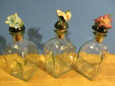 3 Vintage Decorative Glass Bottles Made In Spain With Porcelain Flower Cork Tops