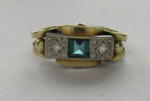 14ct Gold, Fluorite And Diamond Art Deco Style Ring, UK Size N/O US Size 7