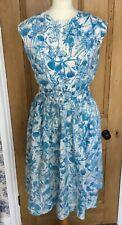 Genuine vintage 1950's  Blue & white floral handmade tea dress Size 10/12