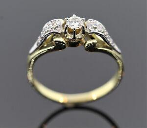 RING MIT 9 DIAMANTEN ZUSAMMEN 0,50ct AUS 585/- GOLD BICOLOR Wert EUR 1500,- €