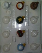 CHRISTMAS ORNAMENT ASSORTMENT CLEAR PLASTIC CHOCOLATE CANDY MOLD C031